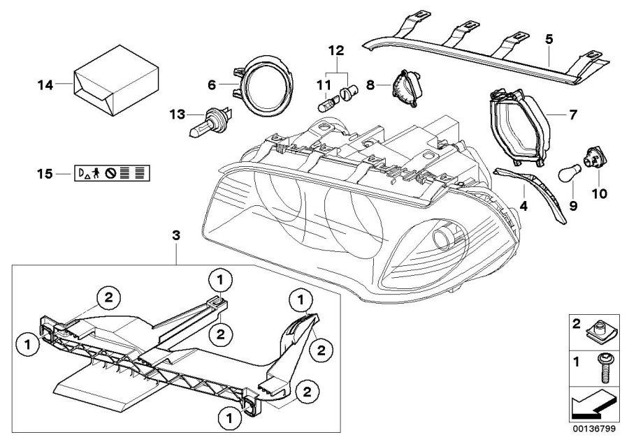 2007 Bmw X3 Headlight Parts Diagram