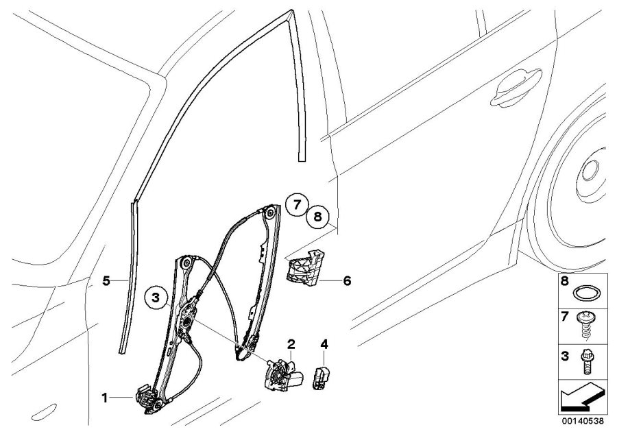 2008 Bmw 528i Sedan Front Left Window Guide  Door  Body