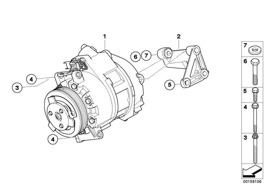 Bmw X5 Rp Ac Compressor W Magnetic Coupling  N62n