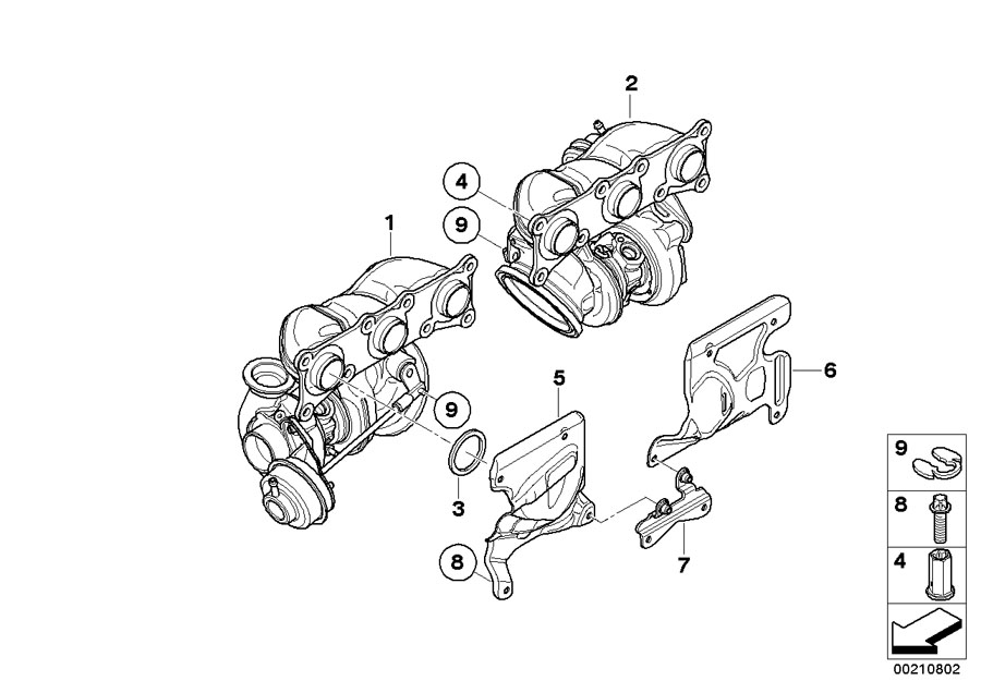 Bmw 335is Turbocharger With Exhaust Manifold  Engine