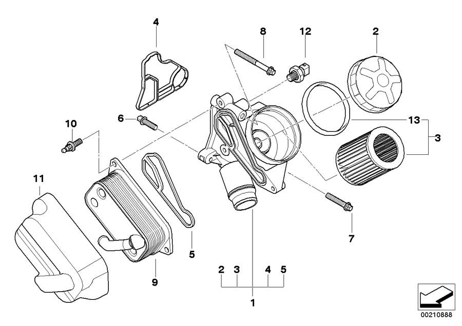 bmw 328i oil filter unit  aluminium  lubrication  system
