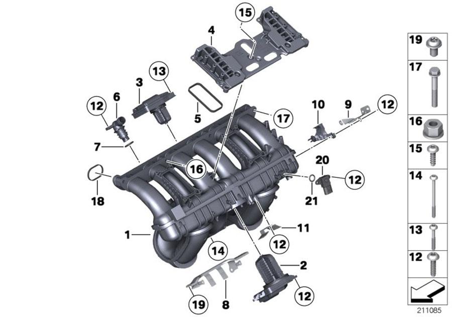 Bmw 530i Angle Connector  Manifold  Intake