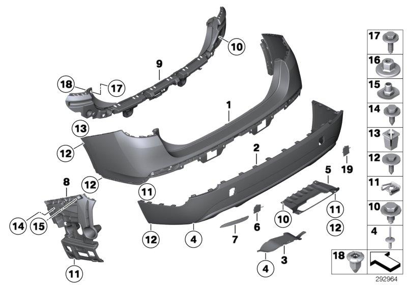 Bmw X1 Trim Panel  Bumper  Rear  Bottom  Basis  Pdc