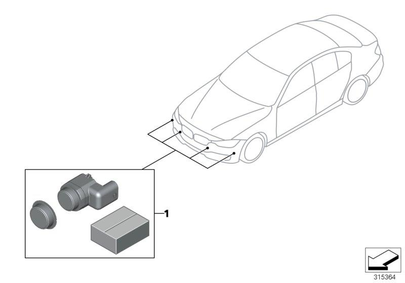 bmw 328i set  mounting  pdc  pma sensor  front  m-p  trim  exterior