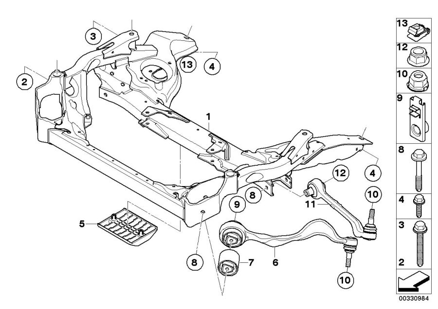 bmw e90 front suspension diagram