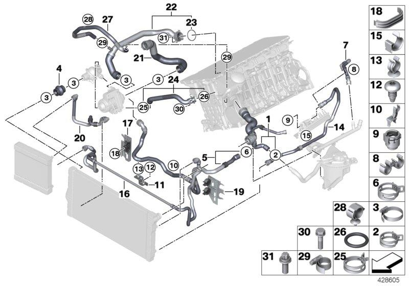 2012 Bmw 535ix Automatic Feed Line  Cooling  System  Hoses