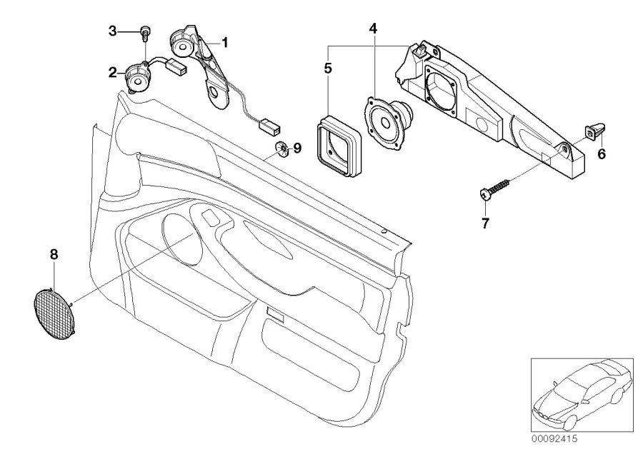 1999 Bmw 540i Sedan Manual Left Hifi Loudspeaker Tweeter  Front  Single  Door
